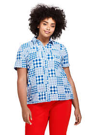 Women's Plus Size Casual Button Front Patchwork Shirt