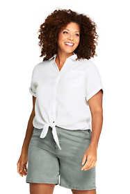 Women's Plus Size Linen Tie Front Pattern Shirt