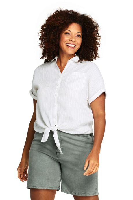Women's Plus Size Linen Tie Front Pattern Shirt