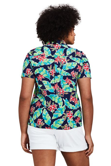 Women's Plus Size Casual Button Front Print Shirt