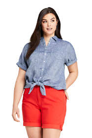 Women's Plus Size Linen Tie Front Shirt