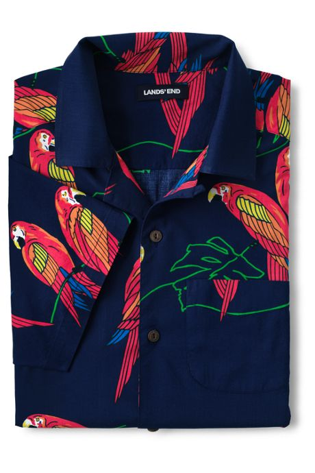Men's Traditional Fit Short Sleeve Printed Vacation Shirt