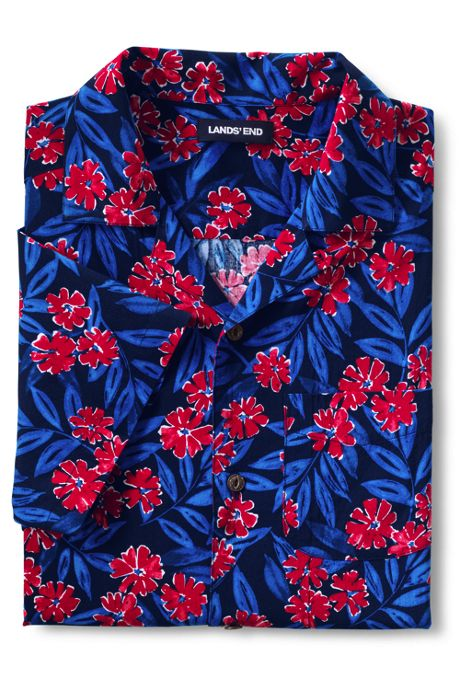 Men's Traditional Fit Short Sleeve Camp Collar Hawaiian Shirt