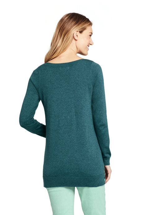 Women's Petite Long Sleeve Supima Boatneck Tunic Sweater