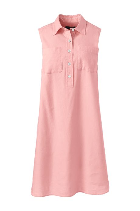 Women's Plus Size Sleeveless Linen Blend Shirt Dress