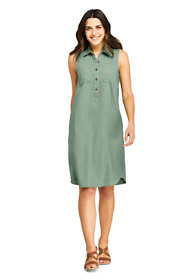 Women's Sleeveless Linen Blend Shirt Dress
