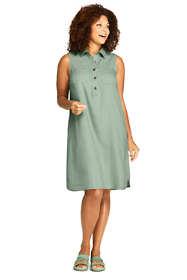 Women's Plus Size Sleeveless Linen Blend Shirt Dress