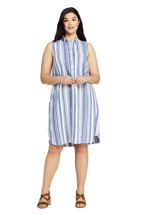 Women's Plus Size Sleeveless Print Linen Blend Shirt Dress