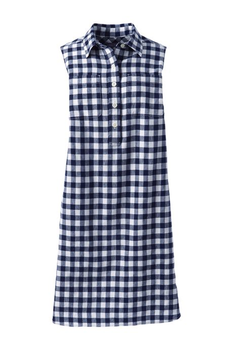 Women's Petite Sleeveless Print Linen Blend Shirt Dress