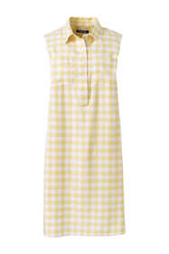 Women's Sleeveless Print Linen Blend Shirt Dress