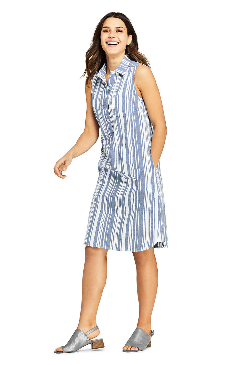 13873b85859 Women s Sleeveless Print Linen Blend Shirt Dress from Lands  End