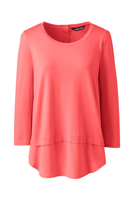 Women's Petite 3/4 Sleeve Mix Media Tunic Top