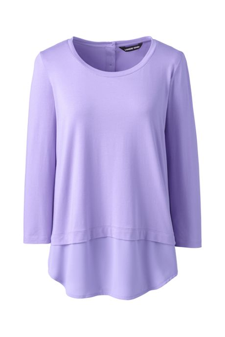 Women's 3/4 Sleeve Mix Media Tunic Top