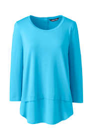 Women's Petite 3/4 Sleeve Mix Media Tunic