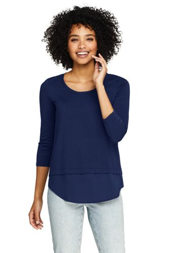 Women's Knit Woven Mix Split Back Top