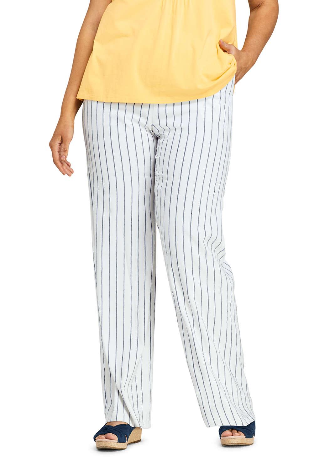 best sale special sales search for latest Women's Plus Size Wide Leg Stripe Linen Blend Pants