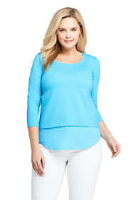 Women's Plus Size 3/4 Sleeve Mix Media Tunic Top