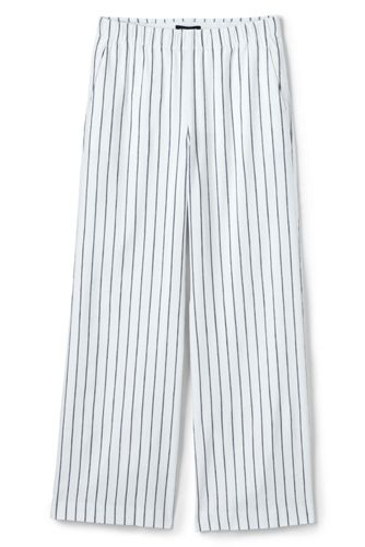 Women's Wide Leg Stretch Linen Striped Trousers