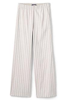 Women's Wide Leg Stretch Linen Striped Trousers