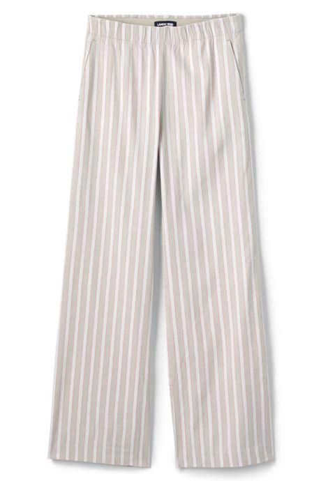 Women's Plus Size Wide Leg Stripe Linen Blend Pants