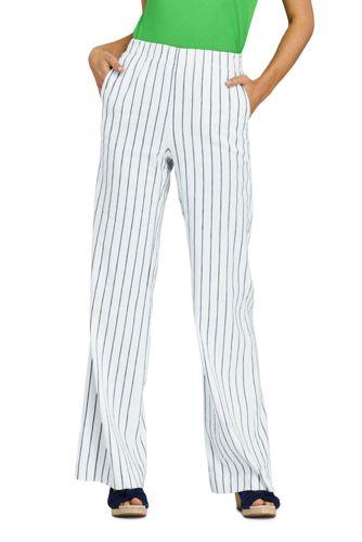 Women's Petite Wide Leg Stretch Linen Striped Trousers