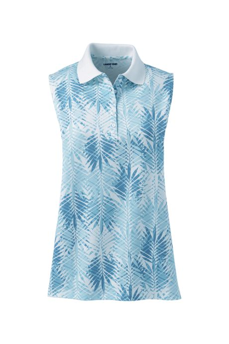 Women's Tall Sleeveless Print Supima Cotton Polo Shirt