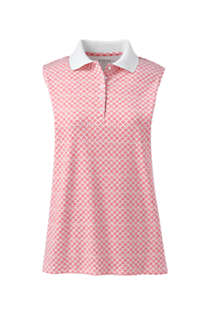 Women's Petite Sleeveless Print Supima Cotton Polo Shirt, Front