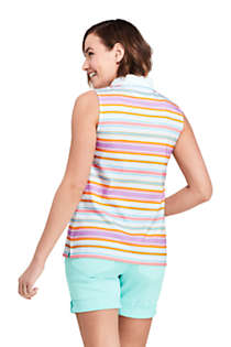 Women's Petite Sleeveless Print Supima Cotton Polo Shirt, Back