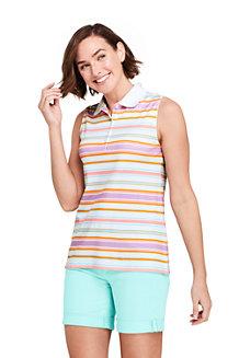 Polo Sans Manches Imprimé en Coton Supima, Femme