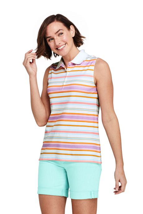 Women's Sleeveless Print Supima Cotton Polo Shirt