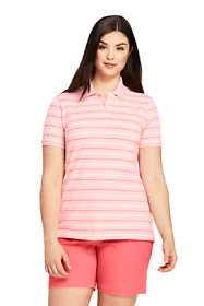 Women's Plus Size Stripe Mesh Cotton Polo Shirt Short Sleeve