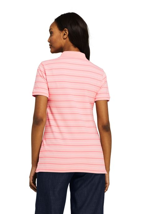Women's Stripe Mesh Cotton Polo Shirt Short Sleeve