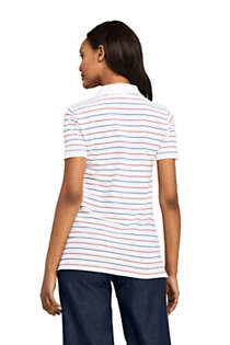 Women's Petite Stripe Mesh Cotton Polo Shirt Short Sleeve, Back