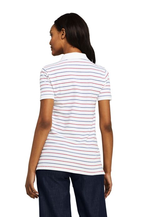 Women's Petite Stripe Mesh Cotton Polo Shirt Short Sleeve