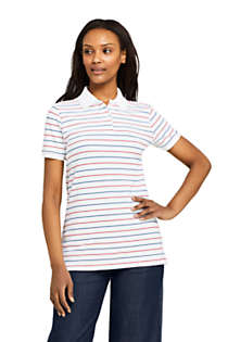 Women's Petite Stripe Mesh Cotton Polo Shirt Short Sleeve, Front