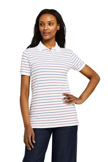 Women's Tall Stripe Mesh Cotton Polo Shirt Short Sleeve