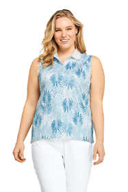 Women's Plus Size Sleeveless Print Supima Cotton Polo