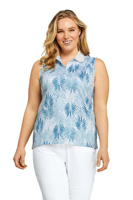 Women's Plus Size Sleeveless Print Supima Cotton Polo