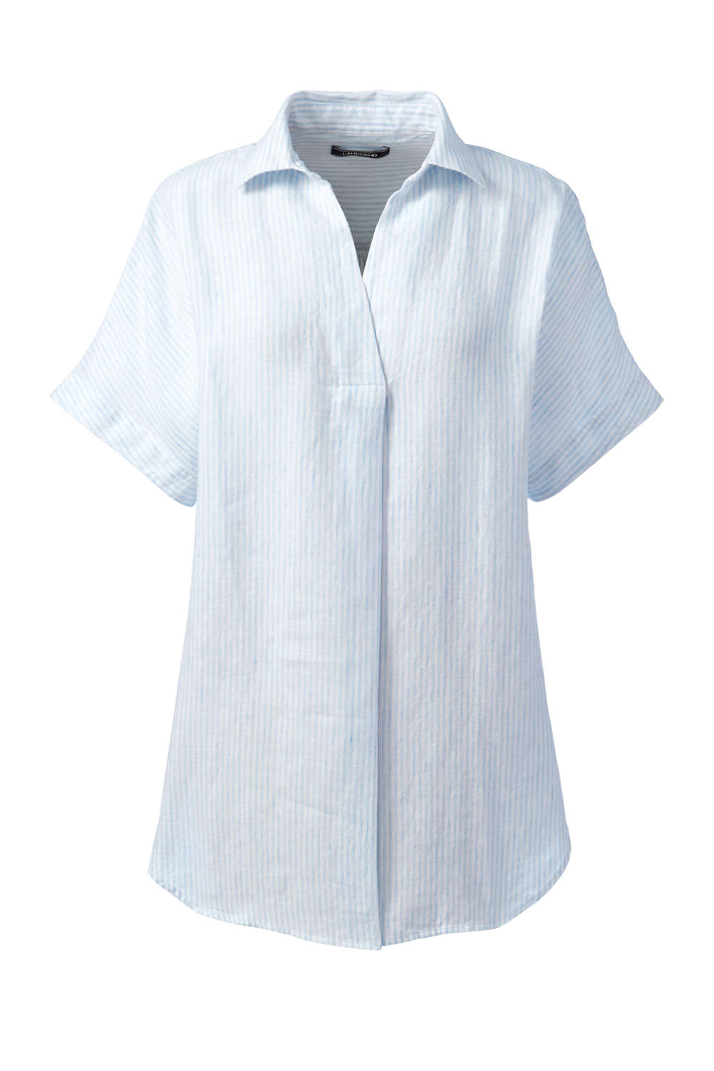 9e8342eee1f Women's Plus Size Short Sleeve Pattern Popover Linen Tunic from Lands' End