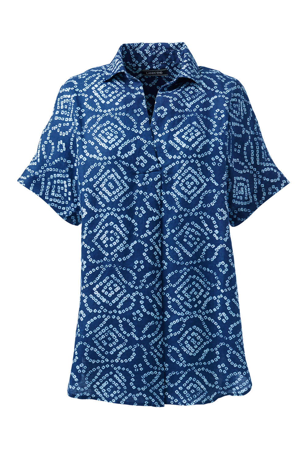 27d61d5914f Women's Linen Short Sleeve Popover Tunic Top - Pattern from Lands' End