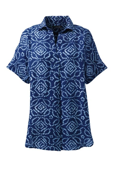 Women's Petite Short Sleeve Pattern Popover Linen Tunic