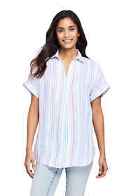 Women's Linen Short Sleeve Popover Tunic Top - Pattern