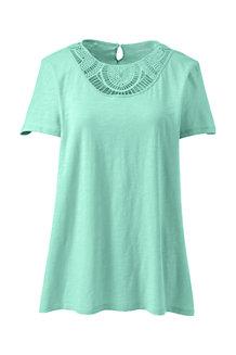 Shirt mit Spitzenausschnitt aus Baumwoll/Modalmix