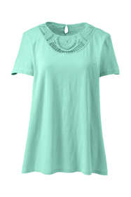Women's Plus Size Short Sleeve Crochet Front Scoop Neck T-shirt
