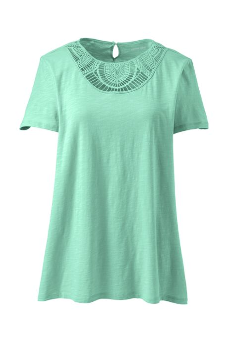 Women's Short Sleeve Crochet Front Scoop Neck T-shirt