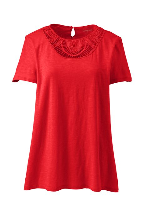 Women's Petite Short Sleeve Crochet Front Scoop Neck T-shirt