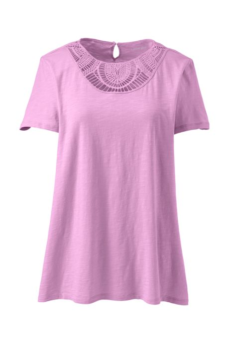 Women's Plus Size Short Sleeve Crochet Front Scoop Neck T-shirt