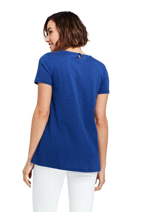 Women's Petite Short Sleeve Crochet Front Scoop Neck T-shirt