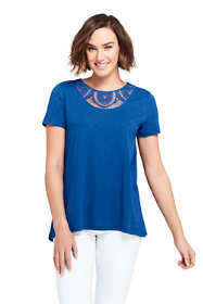 Women's Short Sleeve Crochet Front Scoop Neck T-shirt