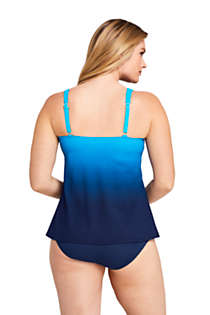 Women's Slender Square Neck Flyaway Tankini Top Swimsuit Print, Back